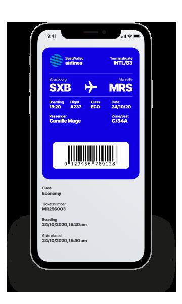 Carte d'embarquementDématérialisez vos cartes de transport ou billets d'avion. Un boarding pass digital qui améliore l'expérience proposée à vos clients.